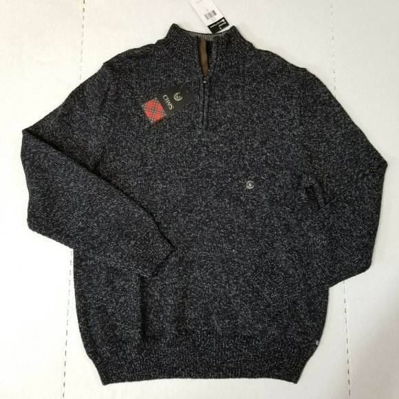 NWT Chaps Men's Large Black Gray Knit Sweater